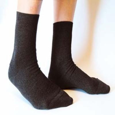 Socquette laine grosses côtes sur la jambe - Chaussette bio