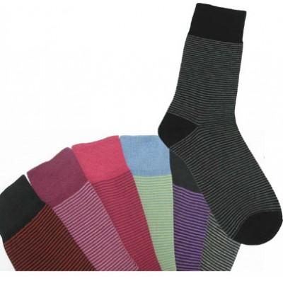 Socquettes fines à rayures coton bio