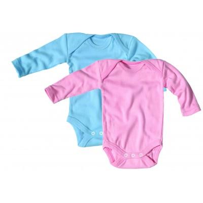 body col croisé manches longues coton biologique écru, rose, bleu ciel - Vêtement bébé bio