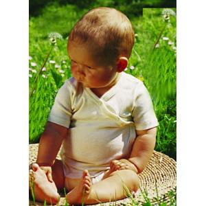 body ouvert devant, boutons pression, manches courtes, coton biologique écru - Vêtement bébé bio