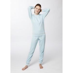 Pyjama femme col rond, coton biologique interlock
