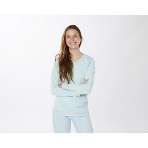pyjama femme col U, poignet et bas pantalon droit, interlock, coton bio