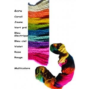 Fil à tricoter laine et soie bio multicolore