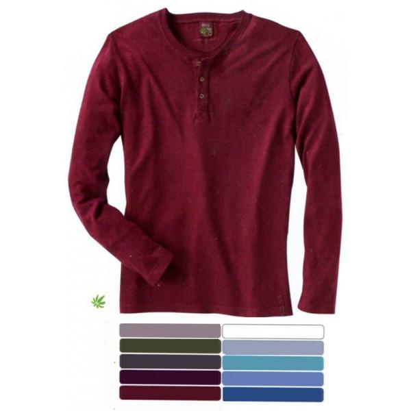 t shirt manches longues coup pr s du corps col tunisien en chanvre et coton bio daniel. Black Bedroom Furniture Sets. Home Design Ideas