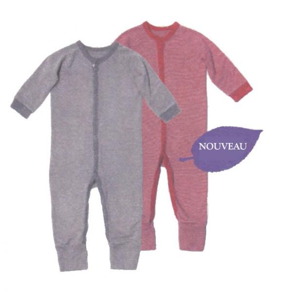 pyjama grenouilli re coton biologique rayures fines en 2 couleurs v tement b b bio. Black Bedroom Furniture Sets. Home Design Ideas