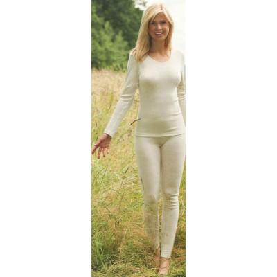 Maillot manche longue écru col rond laine – sous-vêtement bio femme