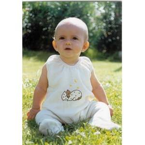 Grenouillère écru tout laine bouclette – vêtement bébé bio