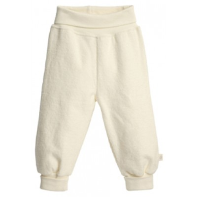 pantalon bébé, coton bio polaire fin, écru ou taupe
