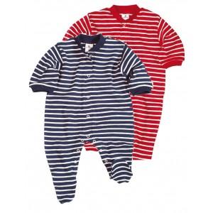 Pyjama Grenouillière coton biologique, rayures en 2 couleurs - Vêtement bébé bio
